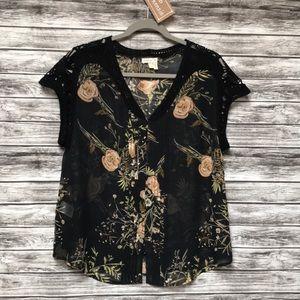 Meadow Rue Black/Peach sheer floral blouse in M
